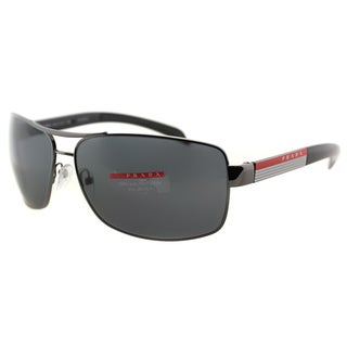 Prada Linea Rossa Men's PS 54IS 5AV5Z1 Gunmetal Metal Rectangle Sunglasses - Black