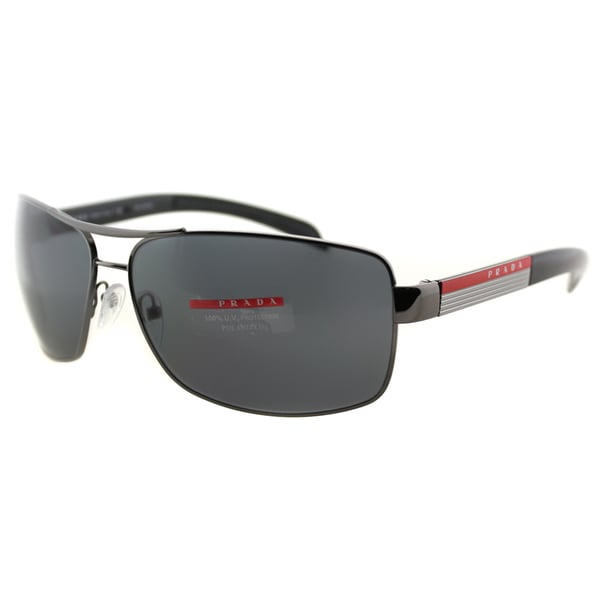 Prada Linea Rossa Men's PS 54IS 5AV5Z1 Gunmetal Metal Rectangle Sunglasses