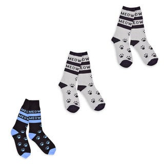 TeeHee Men's Cat Meow Cotton 3-pair Pack Crew Socks