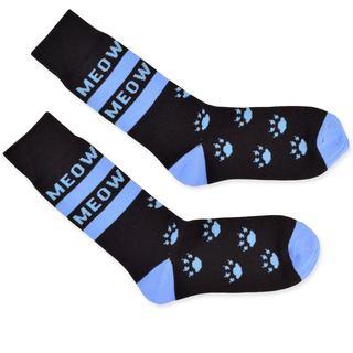 TeeHee Men's Cat Meow Cotton Blue Crew Socks