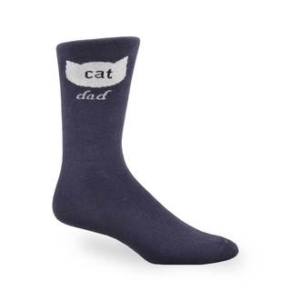 TeeHee Men's Cat Dad Cotton Blue Crew Socks
