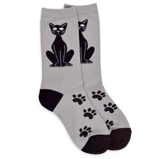 TeeHee Women's Black Cat Sitting Cotton Multi-colored Crew Socks
