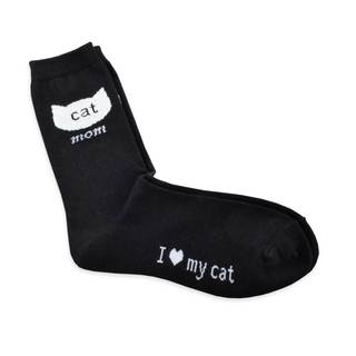 TeeHee Women's Cat Mom Cotton Black Crew Socks