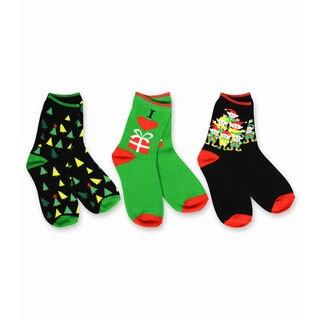 TeeHee Kid's Elves Trees Gifts Multi-colored 3-pack Crew Socks