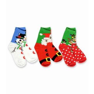 TeeHee Kid's Christmas Faces Multi-colored 3-pack Crew Socks