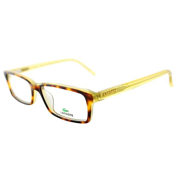 4cb4328f4a31 Lacoste Unisex LA 2614 214 Tortoise with Transparent Yellow Plastic Rectangle  Eyeglasses