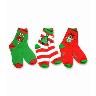 TeeHee Kid's Reindeer Tree and Candy Cane Multi-colored 3-pack Crew Socks