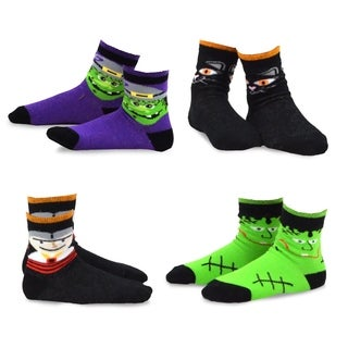 TeeHee Kid's Scary Faces Multi-colored 4-pack Crew Socks