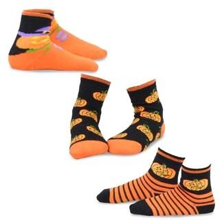 TeeHee Kid's Halloween Pumpkin Day Multi-colored 3-pack Crew Socks
