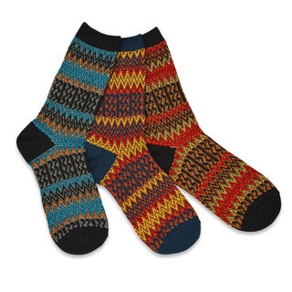 TeeHee Women's Winter Fun Jacquard Multi-colored Crew Socks