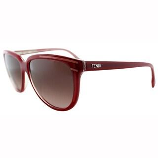 Fendi Women's FS 5279 615 Red Cat Eye Frame Brown Lens Sunglasses