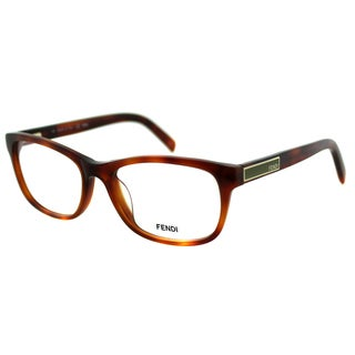 Fendi Women's FE 980 218 Red Light Havana Plastic Rectangle Eyeglasses