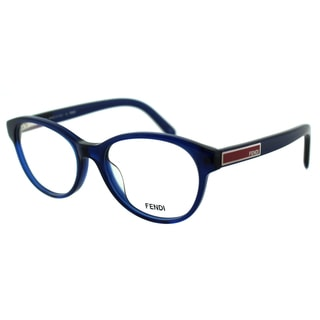 Fendi Unisex FE 979 442 Dark Blue Transparent Round Plastic Eyeglasses