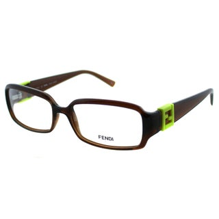 Fendi Women's FE 880 207 Dark Brown Rectangle Plastic Eyeglasses