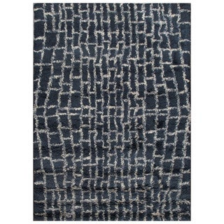 ABC Accent Moroccan Beni Ourain Midnight Blue Wool Rug (4.6x6.6)