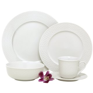 Melange Nantucket Weave Porcelain 40-Piece Place Setting, White, Service for 8