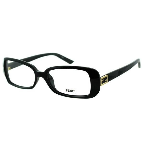 Fendi Women's FE 898 001 Black Plastic Rectangle Eyeglasses