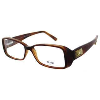 Fendi Women's FE 896 218 Brown Light Havana Plastic Rectangle Eyeglasses