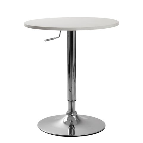 Cumar White Adjustable Height Wood and Chrome Metal Bar Table
