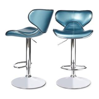 Roundhilll Furniture Masaccio Leatherette Airlift Adjustable Swivel Barstool (Set of 2) (Blue)