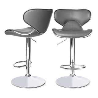 Roundhilll Furniture Masaccio Leatherette Airlift Adjustable Swivel Barstool (Set of 2) (Grey)