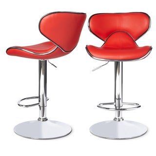 Roundhilll Furniture Masaccio Leatherette Airlift Adjustable Swivel Barstool (Set of 2) (Red)