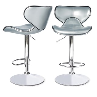 Roundhilll Furniture Masaccio Leatherette Airlift Adjustable Swivel Barstool (Set of 2) (Silver)
