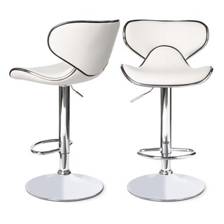 Roundhilll Furniture Masaccio Leatherette Airlift Adjustable Swivel Barstool (Set of 2) (White)
