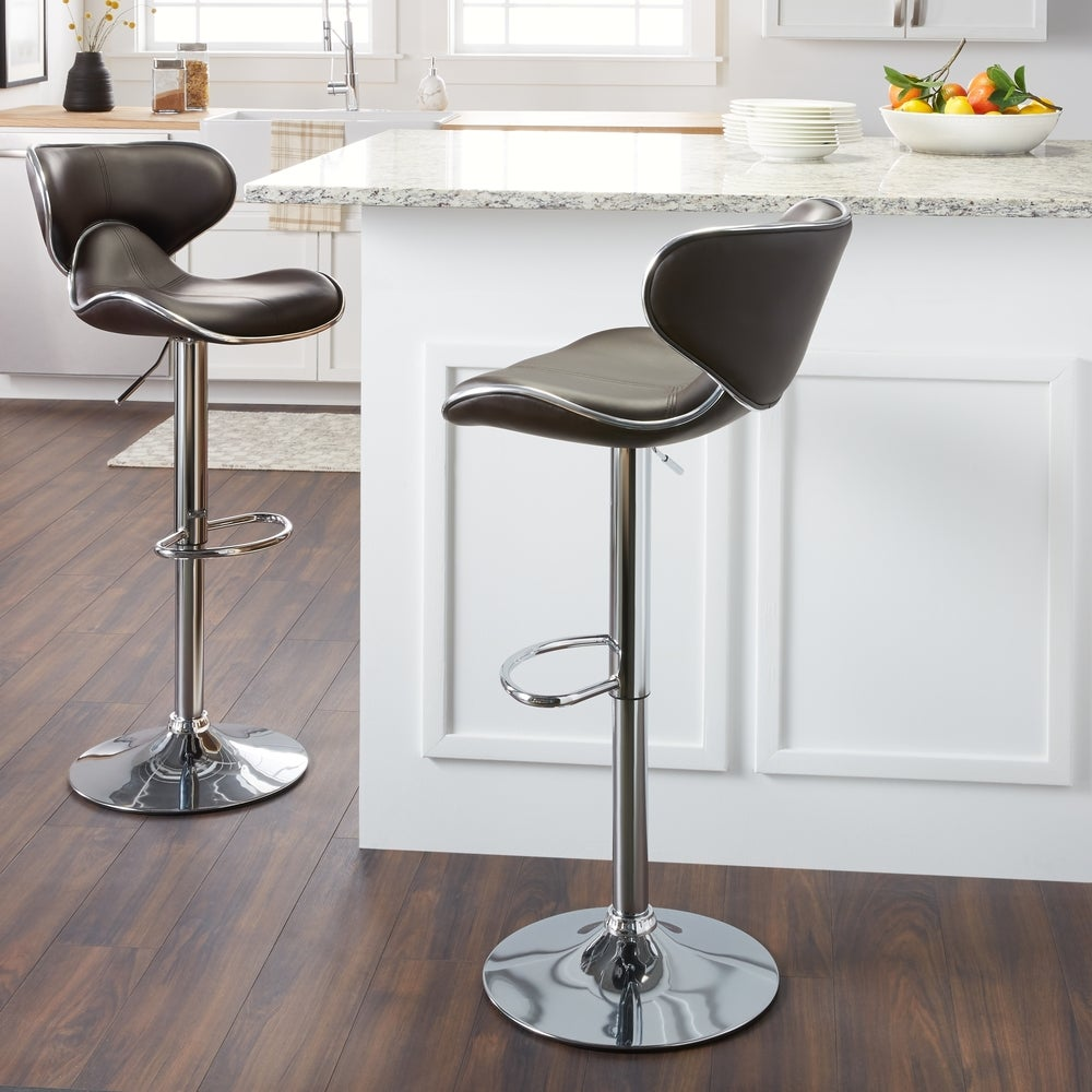 Roundhilll Furniture Masaccio Leatherette Airlift Adjustable Swivel Barstool (Set of 2) (Brown)