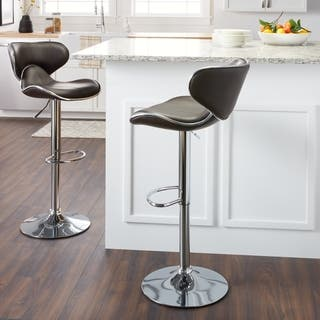 Clay Alder Home Galena Swivel Faux Leather Adjule Barstools Set Of 2