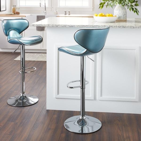 Swivel Faux Leather Adjustable Barstools Set Of 2 Free