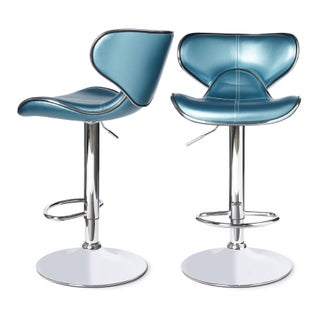Clay Alder Home Galena Swivel Faux Leather Adjustable Barstools (Set of 2) (Option: Blue)