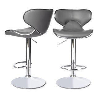 Clay Alder Home Galena Swivel Faux Leather Adjustable Barstools (Set of 2) (More options available)