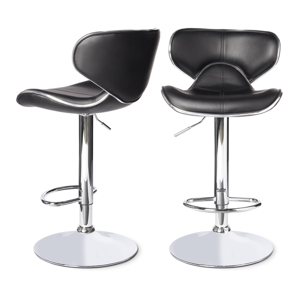 Swivel Faux Leather Adjustable Barstools (Set of 2)