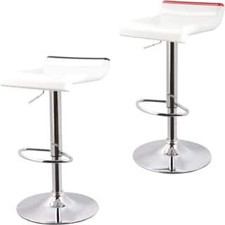 Shop Curved Adjustable Leatherette Barstool Set Of 2