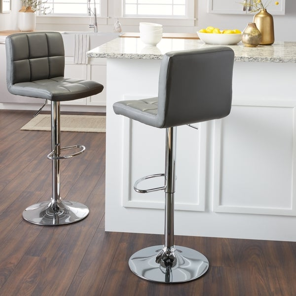 Chrome And Faux Leather Height Adjustable Barstools Set