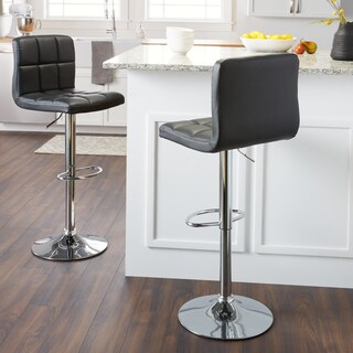 Clay Alder Home Galena Chrome and Faux Leather Height-adjustable Barstools (Set of 2) (More options available)