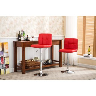 Clay Alder Home Galena Chrome and Faux Leather Height-adjustable Barstools (Set of 2) (Option: Red)