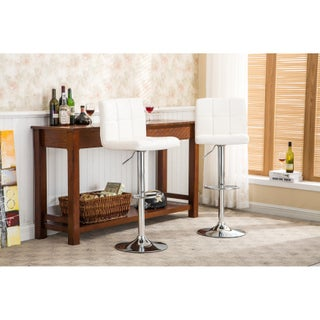 Clay Alder Home Galena Chrome and Faux Leather Height-adjustable Barstools (Set of 2) (Option: White)