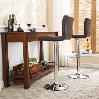 Gordon Swivel Faux Leather Adjustable Hydraulic Barstool (Set of 2)