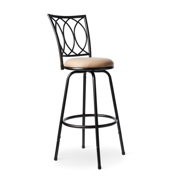 Adjustable Black Round Powder Coated Metal Bar Stool