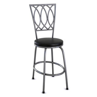 Adjustable Black Round Powder-coated Metal Bar Stool