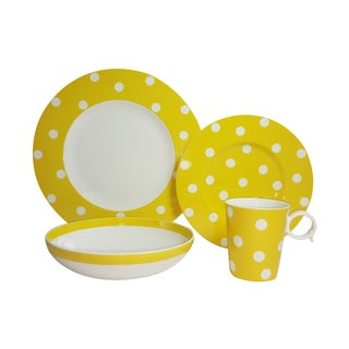 Red Vanilla Freshness Dots Yellow 4-Piece Place Setting