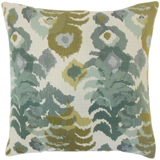 Henriette Ikat 18-inch Cotton Throw Feather and Down Filled Throw Pillow