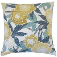 Iniabi Floral 18-inch Cotton Throw Feather and Down Filled Throw Pillow
