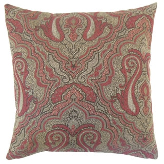 Karleshia Damask 18-inch Cotton Throw Feather and Down Filled Throw Pillow