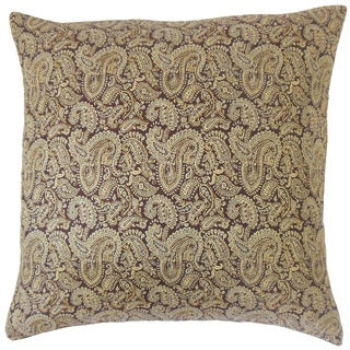 Laraib Paisley 18-inch Cotton Throw Feather and Down Filled Throw Pillow