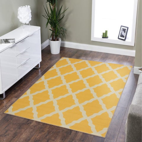 Ottomanson Glamour Trellis Non-Slip Rubber Backing Area Rug
