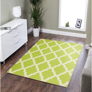 Ottomanson Glamour Trellis Non-Slip Rubber Backing Area Rug (5 x 66 - Green)