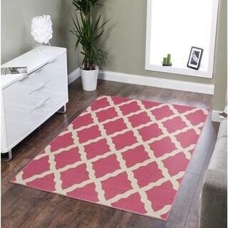 Ottomanson Glamour Trellis Non-Slip Rubber Backing Area Rug (33 x 5 - Dark Pink)